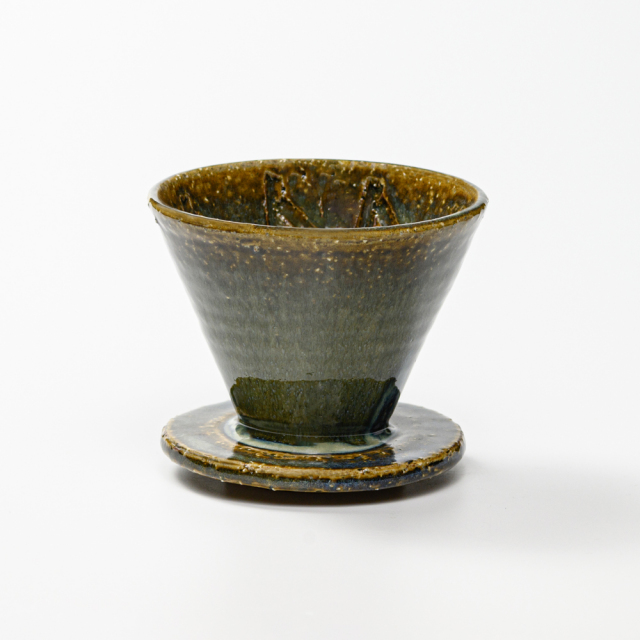 萩焼(伝統的工芸品)ドリッパー鉄青釉丸