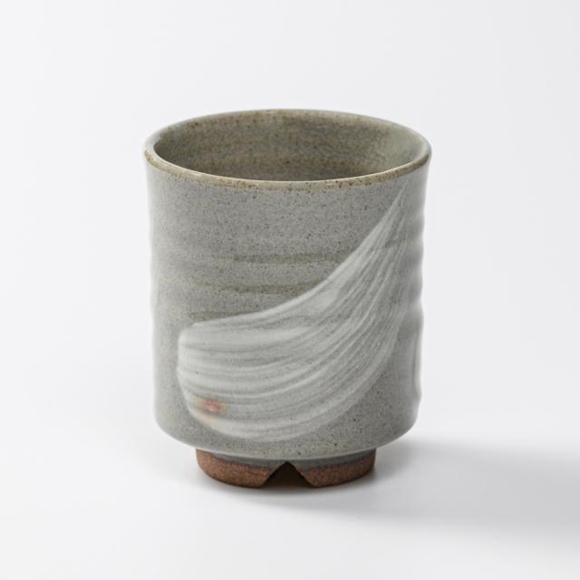 萩焼(伝統的工芸品)湯呑小刷毛青筒No6