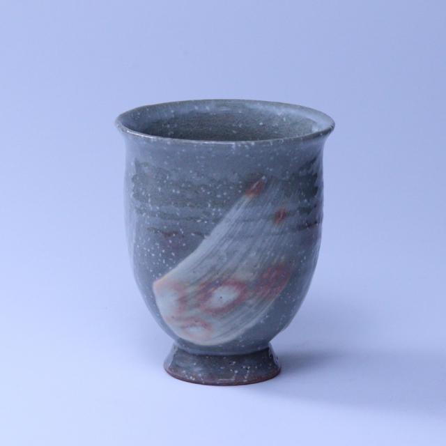 萩焼(伝統的工芸品)タンブラー小刷毛青荒朝顔撥高台