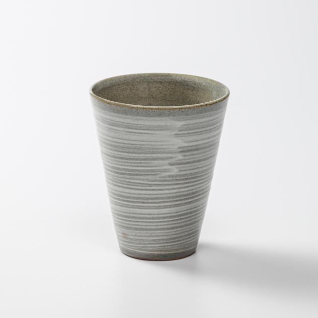 萩焼(伝統的工芸品)タンブラー小線刷毛青筒碁笥底