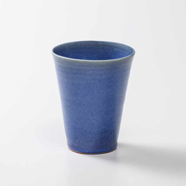 萩焼(伝統的工芸品)タンブラー小透青釉筒碁笥底
