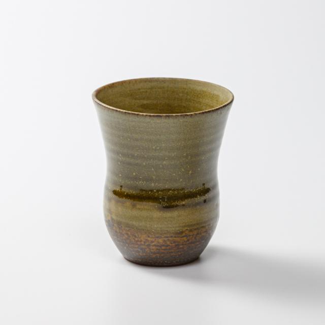 萩焼(伝統的工芸品)タンブラー小緑釉細胴締碁笥底
