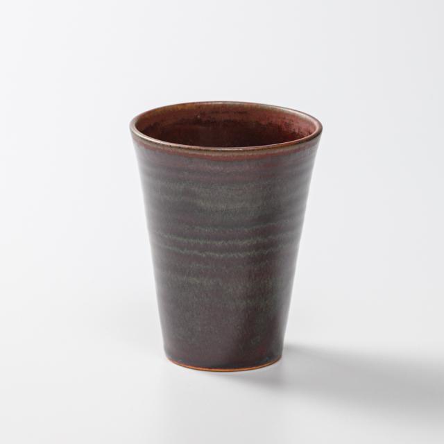 萩焼(伝統的工芸品)タンブラー小鉄赤釉筒碁笥底No710