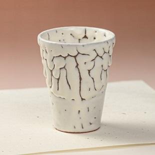萩焼(伝統的工芸品)タンブラー小鬼白松筒碁笥底
