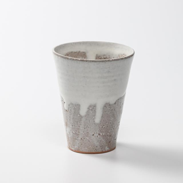 萩焼(伝統的工芸品)タンブラー小白萩掛分け筒碁笥底No712