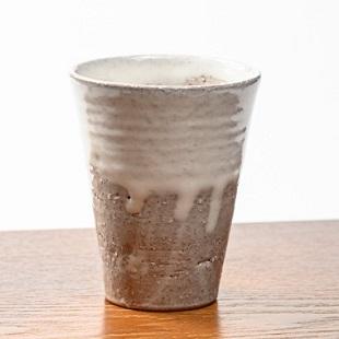 萩焼(伝統的工芸品)タンブラー小白萩掛分け筒碁笥底