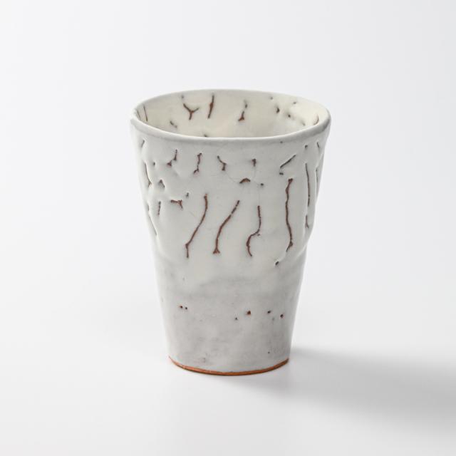 萩焼(伝統的工芸品)タンブラー小鬼白竹筒碁笥底No713