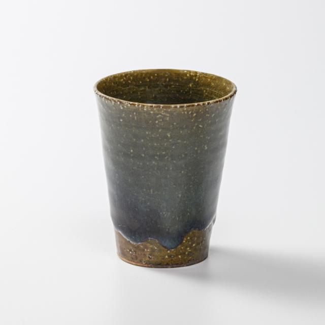 萩焼(伝統的工芸品)タンブラー小鉄青釉筒碁笥底