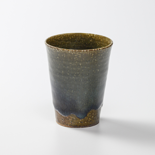 萩焼(伝統的工芸品)タンブラー小鉄青釉筒碁笥底No715