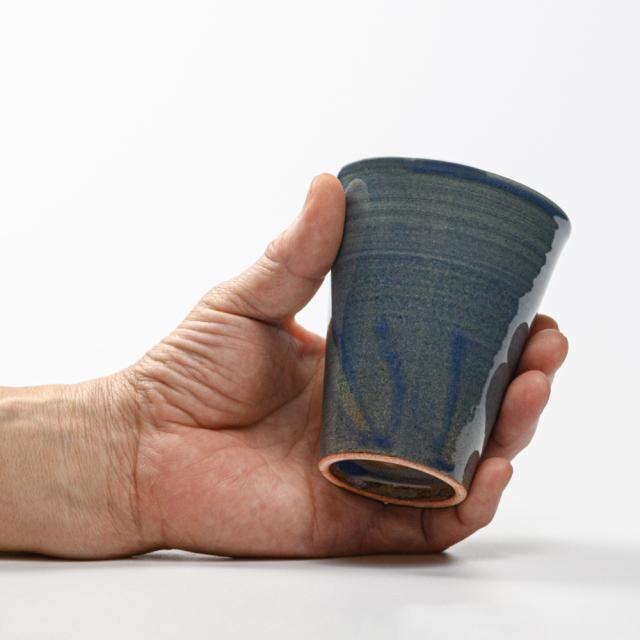 萩焼(伝統的工芸品)タンブラー小淡藍釉筒碁笥底