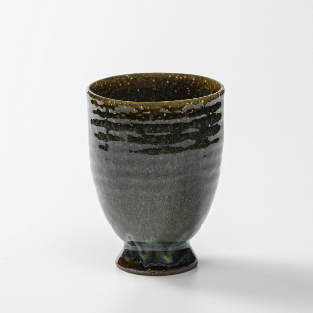 萩焼(伝統的工芸品)タンブラー大鉄青釉呉器撥高台No723