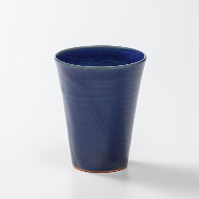 萩焼(伝統的工芸品)タンブラー大藍釉筒碁笥底No724