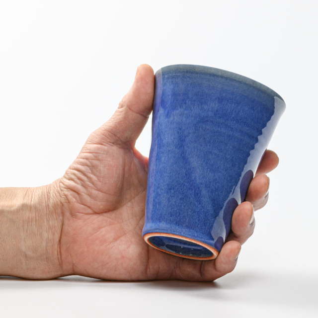 萩焼(伝統的工芸品)タンブラー大透青釉筒碁笥底No725