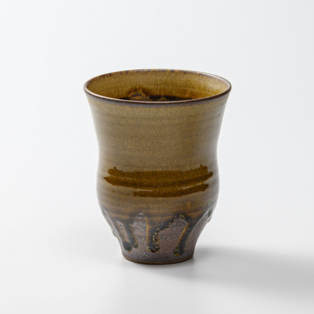 萩焼(伝統的工芸品)タンブラー大緑釉細胴締碁笥底