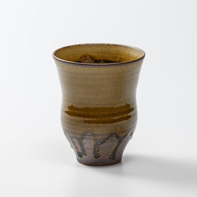 萩焼(伝統的工芸品)タンブラー大緑釉細胴締碁笥底No726