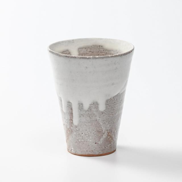 萩焼(伝統的工芸品)タンブラー大白萩掛分け筒碁笥底