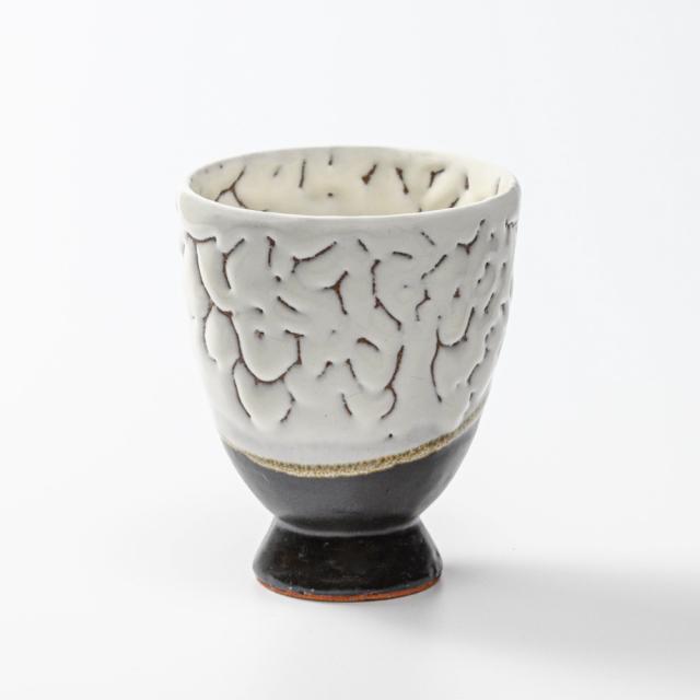 萩焼(伝統的工芸品)タンブラー大掛分け(鬼白松&黒釉)呉器撥高台