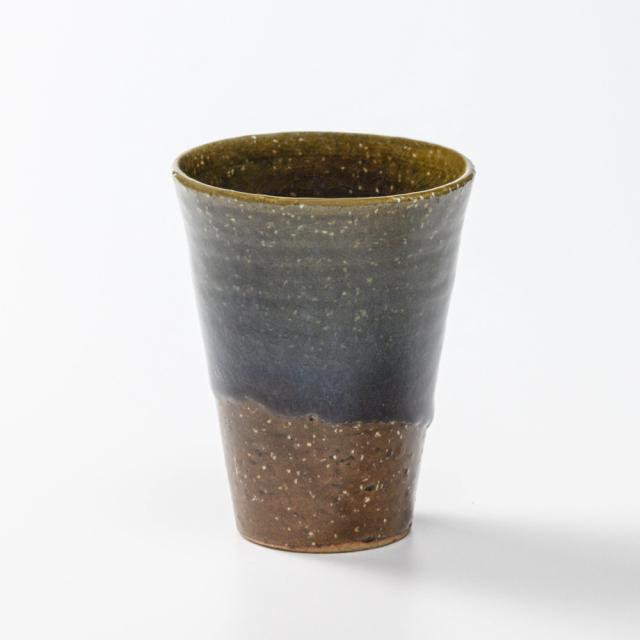 萩焼(伝統的工芸品)タンブラー大鉄青釉筒碁笥底