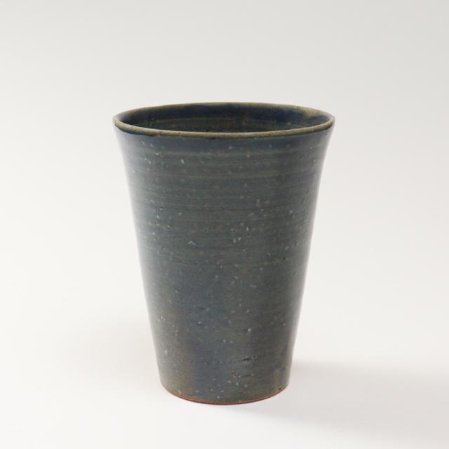 萩焼(伝統的工芸品)タンブラー大淡藍釉筒碁笥底No734