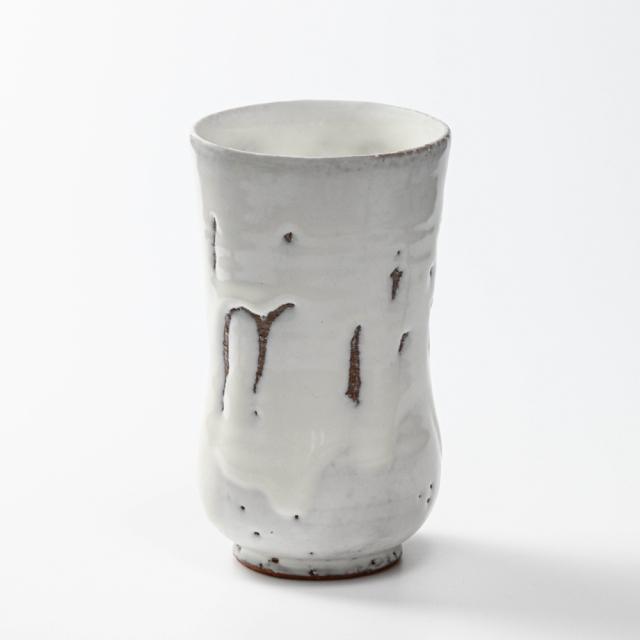 萩焼(伝統的工芸品)タンブラー特大鬼白竹胴締碁笥底No742