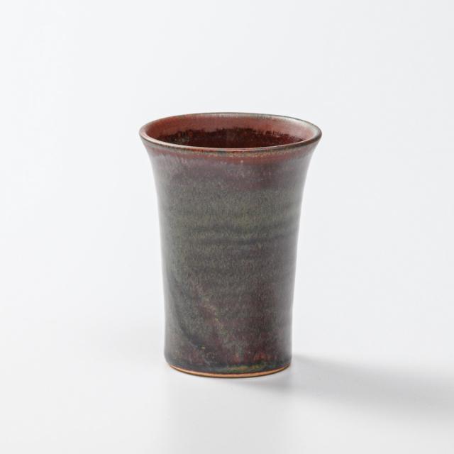 萩焼(伝統的工芸品)ミニタンブラー鉄赤釉端反碁笥底No755