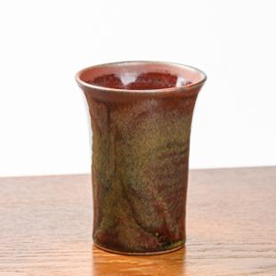 萩焼(伝統的工芸品)ミニタンブラー鉄赤釉端反碁笥底