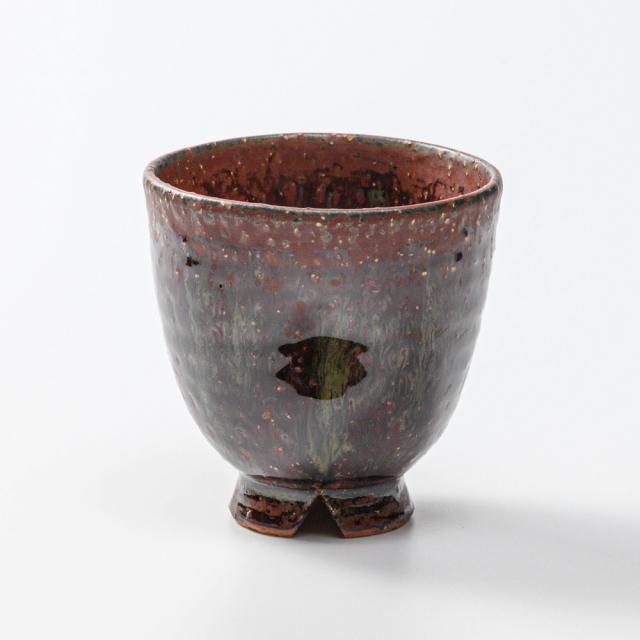 萩焼(伝統的工芸品)フリーカップ鉄赤釉荒呉器えくぼNo765