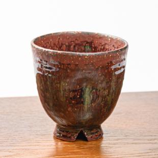 萩焼(伝統的工芸品)フリーカップ鉄赤釉荒呉器えくぼ