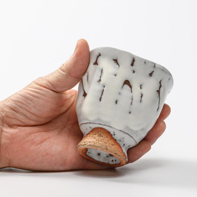萩焼(伝統的工芸品)フリーカップ鬼白竹呉器えくぼ