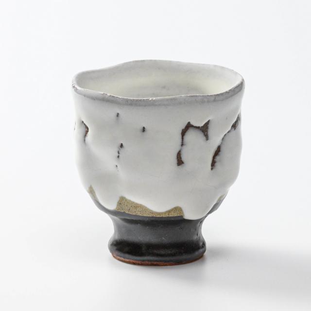 萩焼(伝統的工芸品)フリーカップ掛分け(鬼白竹&黒釉)呉器えくぼ