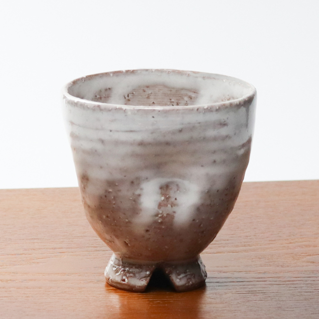 萩焼(伝統的工芸品)フリーカップ白萩掛分け呉器えくぼ
