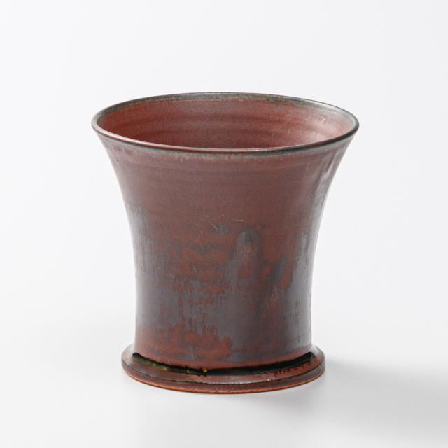 萩焼(伝統的工芸品)フリーカップ大鉄赤釉端反鍔高台No781