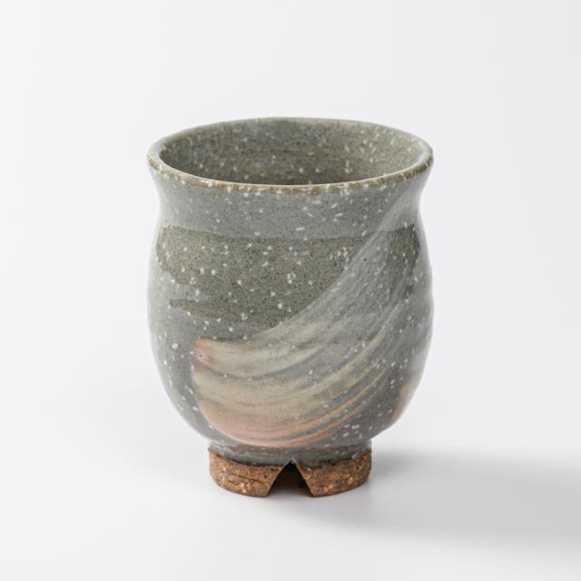 萩焼(伝統的工芸品)湯呑小刷毛青荒丸