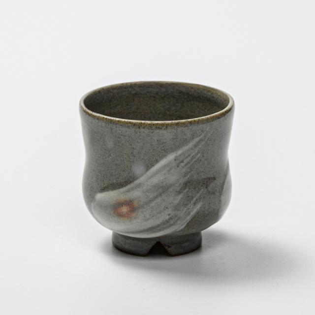 萩焼(伝統的工芸品)ぐい呑刷毛青胴締No804