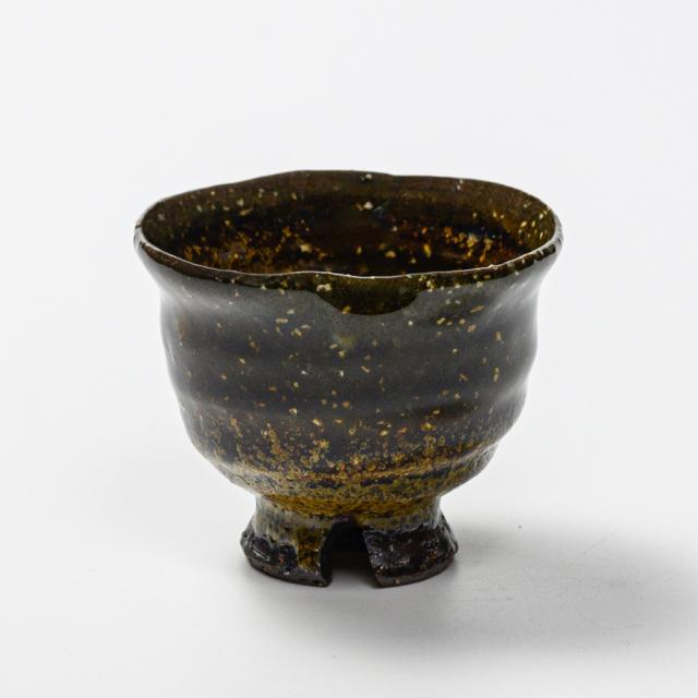 萩焼(伝統的工芸品)ぐい呑鉄釉掛分け丸猪口