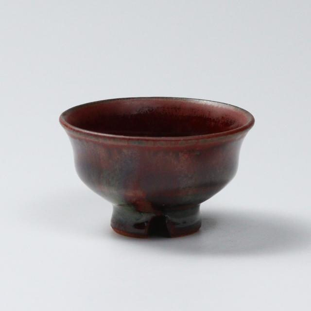 萩焼(伝統的工芸品)ぐい呑鉄赤釉柿のへたNo814