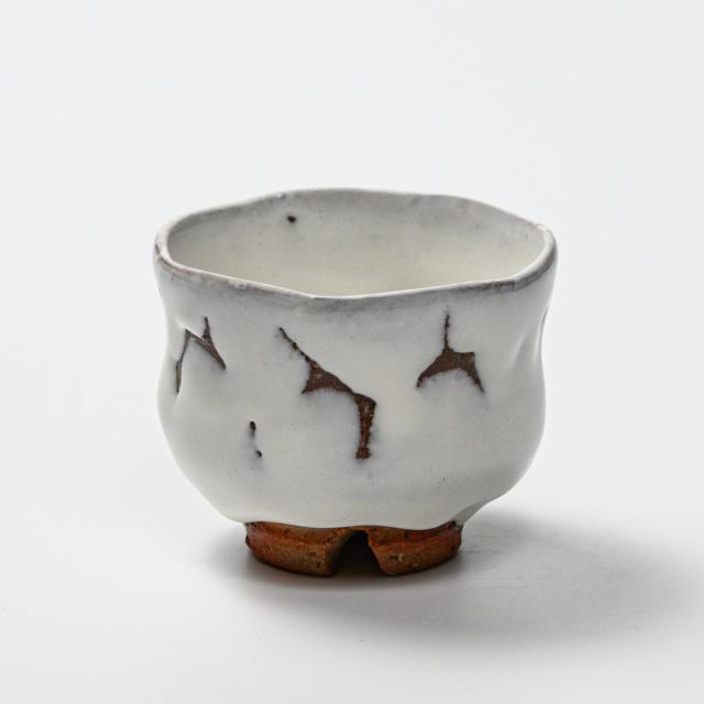 萩焼(伝統的工芸品)ぐい呑鬼白竹胴締