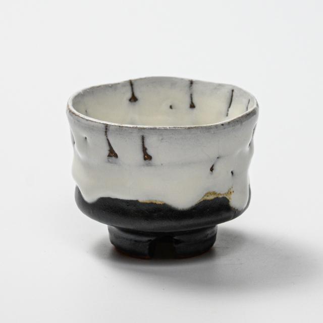 萩焼(伝統的工芸品)ぐい呑掛分け(鬼白竹&黒釉)端反