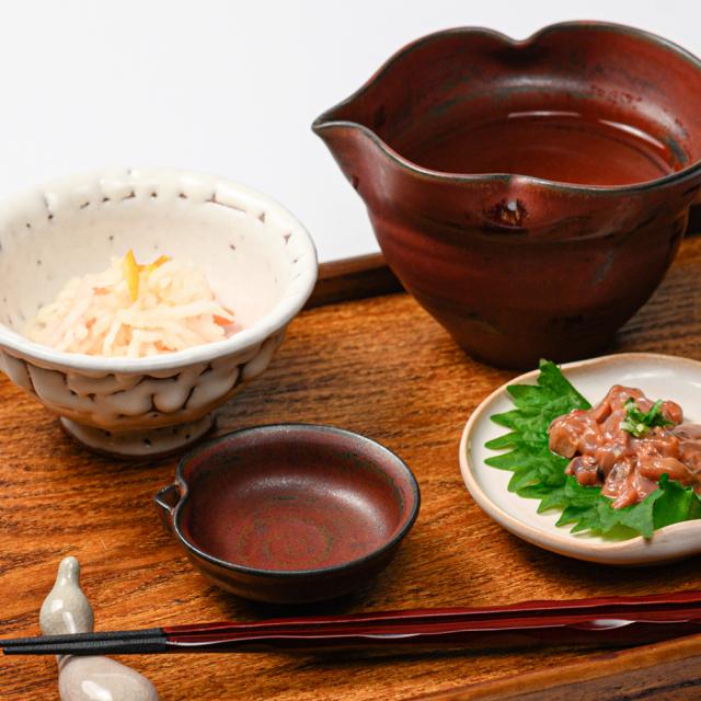 萩焼(伝統的工芸品)盃鉄赤釉朝顔片口No873