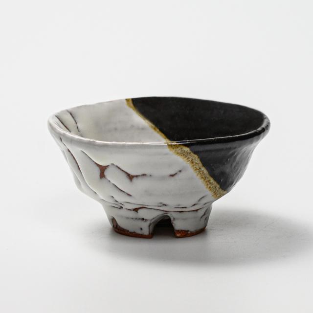 萩焼(伝統的工芸品)盃掛分け(鬼白松&黒釉)丸No879