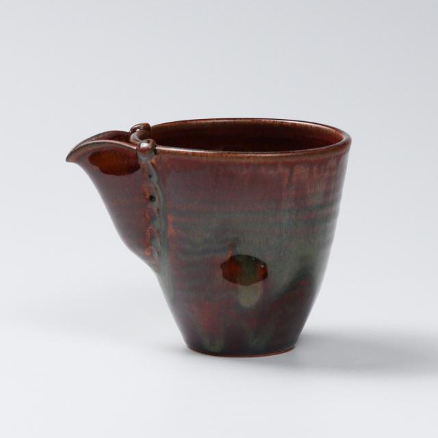 萩焼(伝統的工芸品)酒注ぎ小鉄赤釉筒片口No892