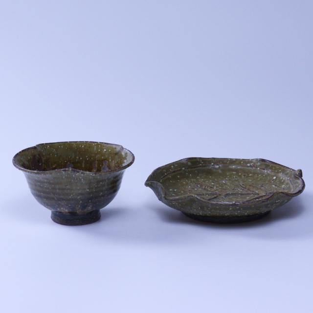 【福箱30+3】No9007緑釉小鉢・銘々皿