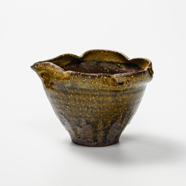 萩焼(伝統的工芸品)酒注ぎ大緑釉木の葉No903