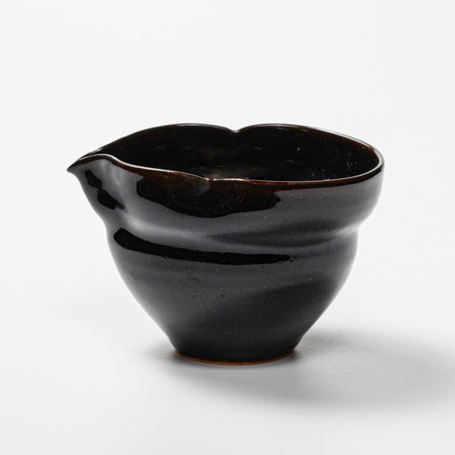萩焼(伝統的工芸品)酒注ぎ大銀黒星釉瓢箪No905