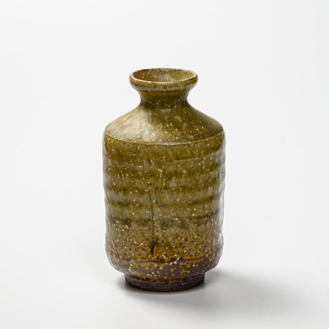 萩焼(伝統的工芸品)徳利緑釉肩衝四方ヘラメNo913