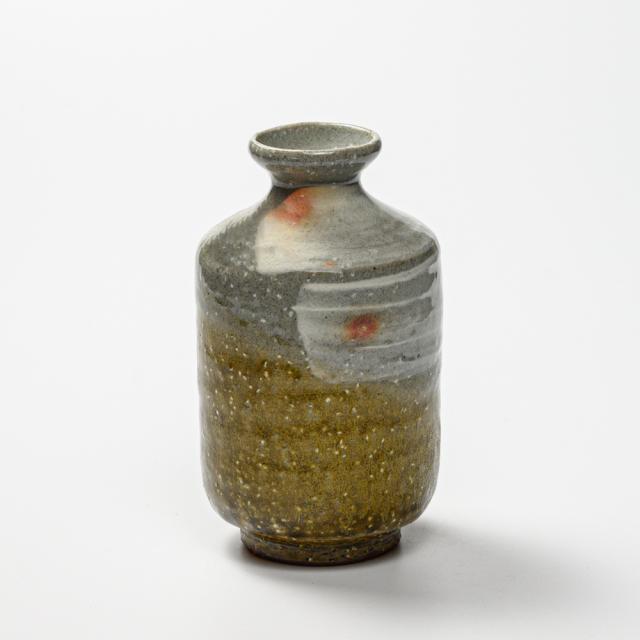 萩焼(伝統的工芸品)徳利掛分け(刷毛青&緑釉)肩衝