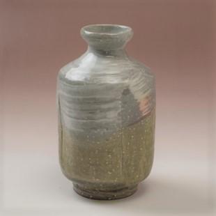萩焼(伝統的工芸品)徳利掛分け(刷毛青&緑釉)肩衝四方