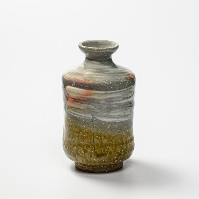 萩焼(伝統的工芸品)徳利掛分け(刷毛青&緑釉)肩衝四方ヘラメNo918