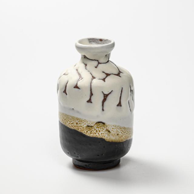 萩焼(伝統的工芸品)徳利掛分け(鬼白松&黒釉)肩衝No926