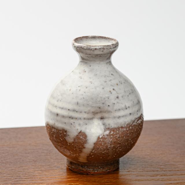 萩焼(伝統的工芸品)徳利白萩掛分け丸えくぼ